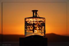 2578 Santorini (matthias.olt) Tags: glas bottle reflexions sunset greece matthiasolt santorini red thira