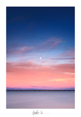 Goodnight over the Bay (g-liu) Tags: night twilight sunset dusk rail bridge water clouds moon fullmoon sky blue orange red longexposure bayarea bay goldenhour bluehour darktable landscape gimp sony a6500 framed minimalist california usa siliconvalley sanfrancisco sanjose vertical