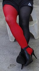 Black and red tights with heels (lexar567) Tags: sexy legs heels sexylegs red legwear tights tight tease thumbholes thumb nylons nylon outside highheels high pantyhose attractive fashion skintight stirrup leggy halloween holes hands black cosplay
