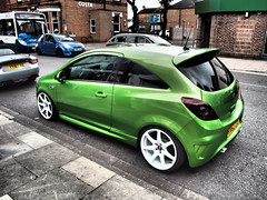 2012 Vauxhall Corsa Customised. (ManOfYorkshire) Tags: vauxhall car corsa auto motoring custom customised extras 2012 1598cc petrol engine 16litre metallic green whitewheels alloys lowered chromeexhaust immaculate special cleethropes lincolnshire gb uk england suspension privacyglass