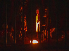 In the Lion's Cage (Steve Taylor (Photography)) Tags: cage prison bars fire tiger deer padlock digitalart museum brown red dark lowkey contrast yellow uk gb england greatbritain unitedkingdom london night glow viktorwyndmuseum