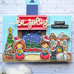 Holiday Card Series 2019 - Waiting for Santa - Magic Picture Changer Card (Marine Simon) Tags: handmade cardmaking carterie papercraft lawnfawn holidaycard magicpicturechanger spectrumnoir