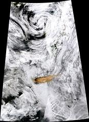 Direct View of Rairoke Eruption, variant (sjrankin) Tags: 22june2019 26june2019 clouds russia russianfederation kurilislands raikoke volcano eruption plume ashplume pacificocean okhotsksea terra modis raikoketmo2019173lrg
