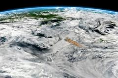 Oblique View of Rairoke Eruption, variant (sjrankin) Tags: 22june2019 26june2019 clouds russia russianfederation kurilislands raikoke volcano eruption plume ashplume pacificocean okhotsksea earthslimb suominpp raikokevir2019173lrg