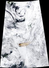 Direct View of Rairoke Eruption (sjrankin) Tags: 22june2019 26june2019 clouds russia russianfederation kurilislands raikoke volcano eruption plume ashplume pacificocean okhotsksea terra modis raikoketmo2019173lrg