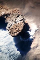 Raikoke Eruption 2, variant (sjrankin) Tags: 22june2019 26june2019 clouds russia russianfederation kurilislands raikoke volcano eruption plume ashplume pacificocean okhotsksea iss iss059 iss059e119255