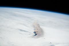 Raikoke Eruption 3 (sjrankin) Tags: 22june2019 26june2019 clouds russia russianfederation kurilislands raikoke volcano eruption plume ashplume pacificocean okhotsksea iss iss059 earthslimb iss059e119243