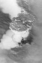 Raikoke Eruption 1, variant (sjrankin) Tags: 22june2019 26june2019 clouds russia russianfederation kurilislands raikoke volcano eruption plume ashplume pacificocean okhotsksea iss iss059 grayscale iss059e119254