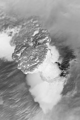 Raikoke Eruption 2, variant (sjrankin) Tags: 22june2019 26june2019 clouds russia russianfederation kurilislands raikoke volcano eruption plume ashplume pacificocean okhotsksea iss iss059 grayscale iss059e119255