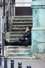 Berichten (Merodema) Tags: man steps stairs treden trap stad city telefoon
