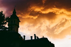 rathaus with sunset clouds (viktor.rpprt) Tags: szeged canona1 canonfd sunset cloud tower architecture film filmphotography filmisalive thefilmcommunity thefilmgang kodakfilm shootfilm shotonfilm grain ishootfilm vintagecamera analog