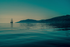 50 shades of blue..... (Dafydd Penguin) Tags: square sail squaresail sailboat boat yacht yachting cruising boating sea water blue seascape scape island hydra snake saronic gulf greece cruiseship ship cruise leica m10 50mm summicron f2
