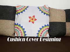 Makeover for Cushion Cover | Vegetable Printing (bellbabyscraftcentre) Tags: vegetableprinting vegetablestamping diy do it yourself
