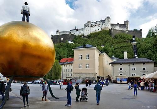 Salzburg: looking up at Hohensalzburg Castle
