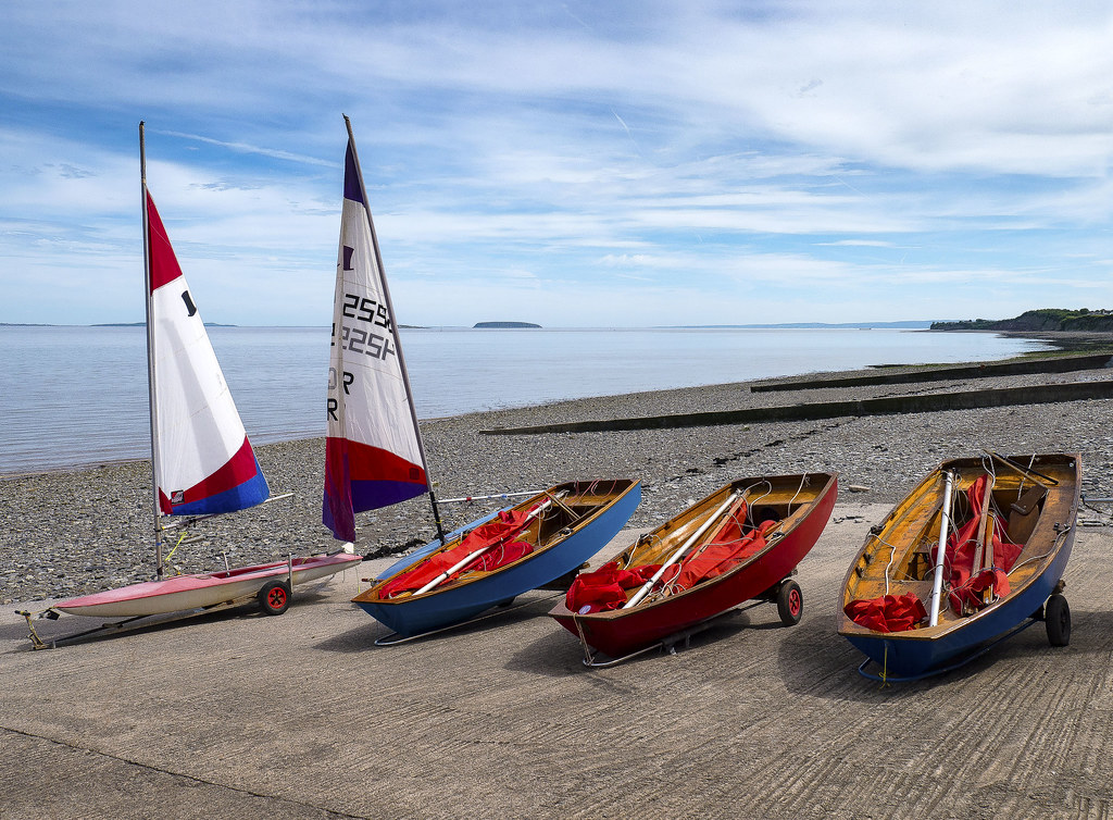 Sailing boats waiting for the off, Penarth Beach.