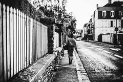 La chaleur était accablante. Le chat noir observait les passants depuis sa fenêtre. Il était encore tôt ce matin. La jeune femme se rendait à son travail. La vie poursuivait son cours. (LACPIXEL) Tags: rue street calle feme woman mujer marcher andar walking walk barrière palissade trottoir acera sidewalk pavement maison house casa noiretblanc blancoynegro blackandwhite canicule canícula heatwave heat chaleur calor streetphotographer photographederue sony flickr lacpixel