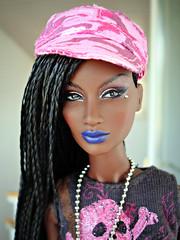 The Awakening Annik (Deejay Bafaroy) Tags: fashion royalty fr integrity toys black doll puppe barbie annik theawakening awakening nuface portrait porträt pink rosa blue blau hardrockcafe outfit cap kappe