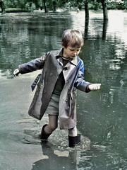 Everythng is fine (theirhistory) Tags: boy child children kid coat raincoat mac mackintosh wellies water rubberboots