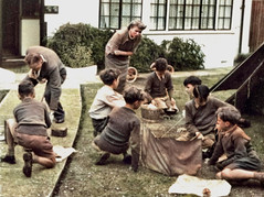 Cub practice (theirhistory) Tags: boy child children kid shorts jumper shoes grass tent garden