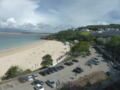 Porthminster Beach, St Ives (andreboeni) Tags: porthminster beach stives cornwall westcornwall penwith carpark railway station sprinter dmu diesel multipleunit railcar train class150 150class gwr sea