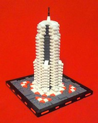 Moonside Hotel (LegoHobbitFan) Tags: lego moc creation build model moon space hotel building skyscraper tower architecture scifi whitr gray grey red