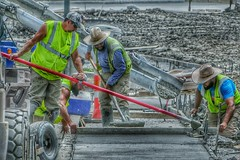 Working Hard For The Money (Ken Mattison) Tags: peopleworking people labor hdr outdoor color colours hats composition atmosphere panasoniclumix fz1000 selectivecolors faces teamwork usa