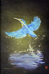 Common kingfisher (Japanese Flower and Bird Art) Tags: bird common kingfisher alcedo atthis alcedinidae hiroki kishimoto modern painting japan japanese art readercollection