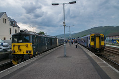 The Caledonian Sleeper at Fort WIlliam (philwakely) Tags: class156 sprinter scotrail class73 caledoniansleeper fortwilliam diesel dieselmultipleunit locomotive trains train railway railways rail