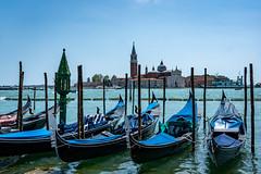 Gondalas on the Lagoon in San Marco, Venice (sharon.verkuilen) Tags: venice veneto venezia gondola sanmarco sonya7rii