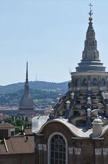 Two Turin Towers (John of Witney) Tags: spires domes moleantonelliana cappelladellasacrasindone belltower campanile cathedral cathedralofsaintjohnthebaptist cattedraledisangiovannibattista turin torino italy italia lacittàmetropolitanaditorinovistadavoi