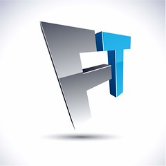 7385359_xl (Franklin Trava) Tags: logo logos company name ft f t pictogram convex salient protuberant distinct grey chrome metallic glossy black blue symbol emblem icon design element abstract internet web futuristic business modern perspective 3d shadow style reflection geometric rotate arrow