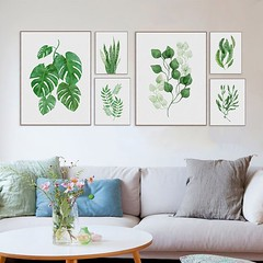 Modern Watercolor Green Leaf Flowers Plant Cottage Canvas Large A4 Print Poster Nordic Wall Art Picture Living Room Home Decoration Painting by TheMildArt (Mild Art) Tags: art poster print painting canvas frame design original mild home decoration wall etsy shop for themildart