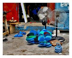 comme un petit besoin... (Marie Hacene) Tags: abidjan côtedivoire treichville ventilateurs boutique rue street arrosoir atelier