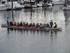 Manning the oars (jamica1) Tags: vancouver bc british columbia canada boat rowers oars false creek dragonboat