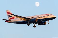 G-EUOA (Andras Regos) Tags: aviation aircraft plane fly airport lhr egll heathrow approach landing ba britishairways speedbird airbus a319 moon