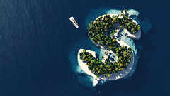 Success way. Tropical island in the form of dollar (sophia.alachouzos) Tags: business ocean above travel blue sea summer seascape money green nature water sign island view turquoise aerial dollar tropical remote financial destinations vacation color tourism horizontal boat 3d movement paradise ship symbol yacht scenic scene international oasis transparent shape success climate atoll tropicalclimate corporate romania 3dillustration