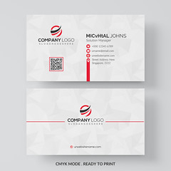 white business card with red details (primedesignx) Tags: business card design vector template corporate professional elegant modern creative visiting brand identity id layout contact graphic abstract office print horizontal vertical set company subtle minimal
