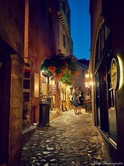 Monemvasia-GREECE (mary.th) Tags: people alley lights shops monemvasia greece blue hour street urban