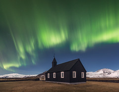 Northern Lights at the Black Church of Budir (Iurie Belegurschi www.iceland-photo-tours.com) Tags: landscape northernlights aurora auroraborealis blackchurch budir snaefellsnespeninsula snow winter icelandphototours iceland iuriebelegurschi guidedphotographyworkshops phototours photoworkshop night sky