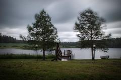 (mabuli90) Tags: forest tree lamp rain wind cloudy finland pier dock boat grass lake water