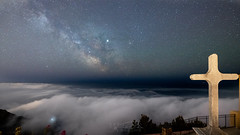 Milky Way along the cross (Janis-Br) Tags: milkyway sky stars croix sea clouds night longexposure france var composition nature landscape