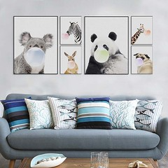 Nordic Kawaii Animal Panda Zebra Giraffe Koala Dog Funny Pop Poster Print Modern Home Wall Art Pictures Girl Kids Room Decor Canvas Painting by TheMildArt (Mild Art) Tags: art poster print painting canvas frame design original mild home decoration wall etsy shop for themildart