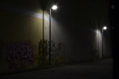 Dark Arts (Robin Shepperson) Tags: dark city deutschland berlin germany nikob d3400 illumination graffiti arts street lamps light dim night shadows illuminated wall colours colour nikkor cof068dmnq cof068chon