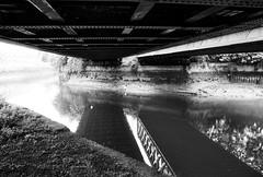 Bow Creek, London (a.pierre4840) Tags: olympus om3 zuiko 24mm f28 35mmfilm ilfordhp5 ilford hp5 hp5plus bw blackandwhite noiretblanc river london bridge england industriallandscape industrial decay reflections