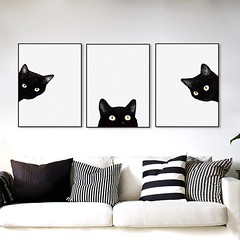 Watercolor Black Cats Head Cute Animals Poster A4 Nordic Kawaii Kids Baby Girl Room Wall Art Prints Pictures Home Decoration Canvas Painting by TheMildArt (Mild Art) Tags: art poster print painting canvas frame design original mild home decoration wall etsy shop for themildart