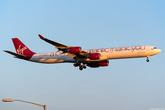 G-VNAP (Andras Regos) Tags: aviation aircraft plane fly airport lhr egll heathrow approach landing virgin virginatlantic airbus a340 a346 a340600 sunset