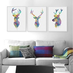 Modern Abstract Watercolor Animal Deer Head Poster Print A4 Nordic Style Living Room Large Wall Art Pictures Home Decoration Canvas Painting by TheMildArt (Mild Art) Tags: art poster print painting canvas frame design original mild home decoration wall etsy shop for themildart