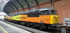 Double head Colas . (steven.barker57) Tags: colas trains rail freight class 70 56 70812 56078 yellow orange station railway railbritish platform double head header
