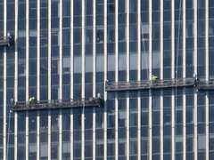2019 Group of Window Washers on One Penn Plaza 2899 (Brechtbug) Tags: 2019 group window washers one penn plaza red number 1 light top building tower from hells kitchen clinton near times square broadway nyc 06262019 city midtown manhattan spring springtime weather dark low hanging cumulonimbus cumulus nimbus cloud hell s nemo southern view ny1 windows washer scaffold rig platform off buildings clean june