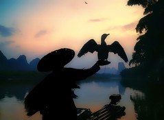 Ombre Cinesi (Gio_guarda_le_stelle) Tags: sunset afterglow fisherman quiet peaceful bird river shadow cormorant china cina sky hills water boat reflection 4 i tramonto fiume cormorano quiete atmosphere light trees travel viaggio est east 桂林 silohuette